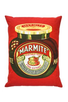 This cushion is perfect for the Marmite lovers out there. It features the iconic jar on a red background. Luxury Cushions, Half Moon Bay, Vintage Jars, Gift Finder, Ben And Jerrys Ice Cream, Cushion Pads, Root Beer, Food Gifts, Ark