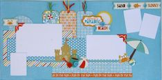 Summer beach layout (Small)And here is a kit for those of you who are loving those two, 2 page layout kits. This kit is designed using Echo Park's Splash collection. The first layout is perfect for swimming and staying cool in the pool. Notice the detail of the digital printing on this 2 page layout. The second 2 page layout is great for all your beach photos; catching some waves, playing in the sand, or building a sand castle.