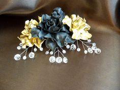 Bridal gold black comb for hair Wedding Fascinator Crystal comb Hair Grip Slide Bridesmaids Black And Gold hair pin rhinestones hair comb by JewelryAjoureFlowers on Etsy