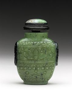 Snuff Bottle (Biyanhu) with Mock Mask Handles, China, middle Qing dynasty, about 1700-1800, Abraded jade