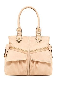 """Jessica Simpson Lindsey Tote by Assorted  - Dual rolled top handles - Zip top closure - Exterior features dual front flap pockets with magnetic closures, dual front zip pockets, back zip pocket, and expandable side outlets - Interior features center divider zip pocket, back zip wall pocket and 2 media pockets - Approx. 12"""" H x 14.5"""" W x 4.5"""" D - Approx. 8.5"""" handle drop - Imported Materials PVC exterior, fabric lining Color: Toasted Almond  $108.00"""