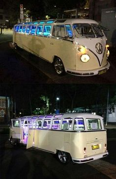 ✪ - Volkswagen - ✪ bus turned stretch limo this is too cool not to pin! Bus Vw, Volkswagen Transporter, Vw Camper, Auto Volkswagen, Volkswagen Beetles, Volkswagen Bus Interior, Vw T1 Samba, Dream Cars, Combi Ww