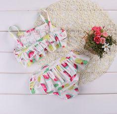 Baby Girls Printed Ruffle Swimwear Bathing Suit Kids Tankini Bikini Beachwear (12-18M, White)