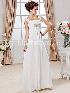 Sheath/ Column Square Floor-length Chiffon Wedding Dress - USD $ 249.99