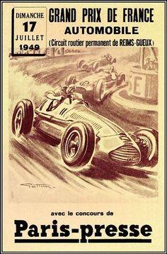 Grand Prix 1949 De France Car Racing Vintage Poster Art Print Home Bar Decor