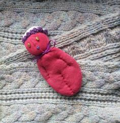 Red Sock Doll Stuffed With Real Lavender Brown Stone by Pedricks