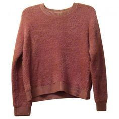 Pink Polyester Knitwear TOPSHOP (190 SAR) ❤ liked on Polyvore featuring tops, sweaters, shirts, pink sweater, knitwear sweater, red sweater, topshop sweaters e red top