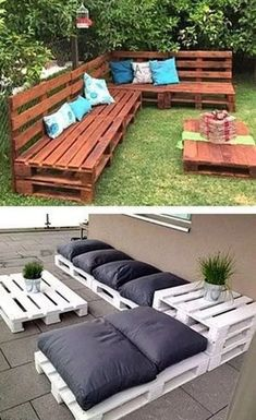 Pallet sofa furniture 8 Creative Up-cycled Pallet Ideas For The Garden - Container Water Gardens Diy Patio, Backyard Patio, Budget Patio, Patio Stone, Flagstone Patio, Concrete Patio, Patio Table, Backyard Ideas, Backyard Landscaping