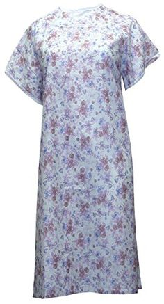 Womens Poly Cotton Backwrap Gown Purple Flower Prints Large ** Learn more by visiting the image link. (This is an affiliate link and I receive a commission for the sales) Nursing Wear, Purple Flowers, Flower Prints, Short Sleeve Dresses, Gowns, Image Link, How To Wear, Cotton, Note