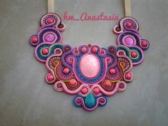 COLLAR SOUTACHE Soutache Necklace, Crochet Necklace, Beading, Necklaces, Embroidery, Rose, Jewelry, Soutache Jewelry, Accessories