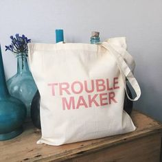 Trouble maker tote bag canvas cotton quote pink text gift for Couple Gifts For Her, Romantic Gifts For Her, Best Gifts For Her, Unique Gifts For Her, Valentines Gifts For Her, Birthday Gifts For Her, Funny Throw Pillows, Pink Quotes, Personalized Gifts For Her