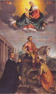 Giovan Battista Moroni - Madonna col Bambino in gloria, S. Martino e il povero con il donatore don Leone Cucchi - 1573-1578 - Cenate Sotto