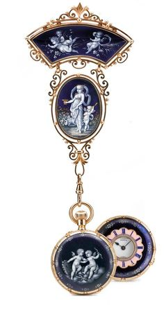A YELLOW GOLD AND ENAMEL HALF-HUNTING CASED KEYLESS LEVER PENDANT WATCH WITH MATCHING BROOCH CIRCA 1900.