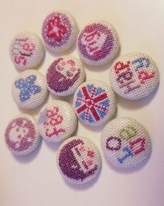 cute cross stitch buttons