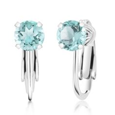 Silver Earrings By CS-DB Round Natural Sky Blue Topaz Inlay Sapphire Flower Stud Earrings For Womens