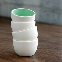 Stacking Thimble Cups Set 4. $42.00, via Etsy. ReadyMade, Sunset, and the Wall Street Journal all have taken note of Pigeon Toe's line of fine crafted ceramics, which you can also find at Tilde, Red Sail, and Palace.