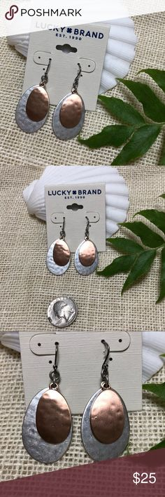 NWT Lucky Brand Silver & Rose gold toned earrings NWT Lucky Brand Earrings. Beautiful tear dropped shaped. Two hammered metal tear dropped shaped charms that hang from each earring. One is a sliver toned and the other is a rose gold color. These are very nice and can be worn dressed up, or with a casual pair of jeans. Lucky Brand Jewelry Earrings
