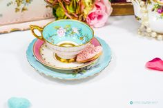 Fancy Blue Gold aqua & Pink Hand painted and finely gilded Bone China mismatched Trio. Ornate scalloped Gold pedestal teacup by R. Stafford by FlyingSquirrelNest on Etsy