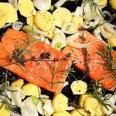 Lachs mit Gemüse vom Blech Rezept