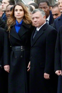 Queen Rania and King Abdullah II of Jordan join the world's political leaders at the Republican rally for Charlie Hebdo in Paris, France on 11.01.2015.