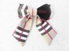 Laura, Embroidered bow tie with Laura name tag, handmade by Betolli