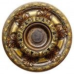 """Hand Painted Decorative Ceiling Medallion 23-5/8"""", Finished in Bronze and Gold"""