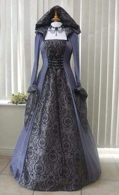 Medieval Dresses and Gowns for Weddings, Handfasting Ceremonies and other Special Occasions - Slate Grey Medieval Hooded Dress made in velvet and taffeta, Dawns Medieval Dresses Source by annikareichert - Renaissance Costume, Renaissance Clothing, Medieval Fashion, Vintage Dresses, Vintage Outfits, Medieval Gown, Medieval Dress Pattern, Retro Mode, Hooded Dress
