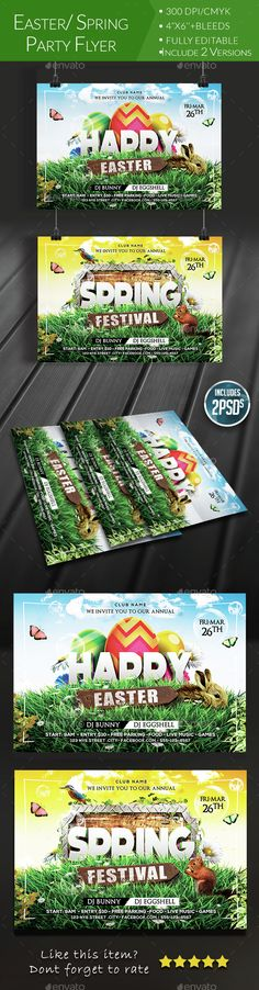 Easter/ Spring Party Flyer Template PSD. Download here: http://graphicriver.net/item/easter-spring-party-flyer/15303033?ref=ksioks