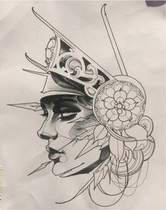 Drawing Tattoo Neo Trad 60 Ideas For 2019 Tattoo Sketches, Drawing Sketches, Tattoo Drawings, Tattoo Ink, Drawing Ideas, Bild Tattoos, Body Art Tattoos, Tattoo Gesicht, Face Sketch