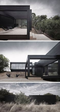 Examples Of Modern Houses With Black Exteriors Large windows are the only things interrupting the all black siding on the exterior of this modern home.Large windows are the only things interrupting the all black siding on the exterior of this modern home. Architecture Design, Black Architecture, Contemporary Architecture, Contemporary Apartment, Residential Architecture, Contemporary Houses, Pavilion Architecture, Minimalist Architecture, Contemporary Wallpaper