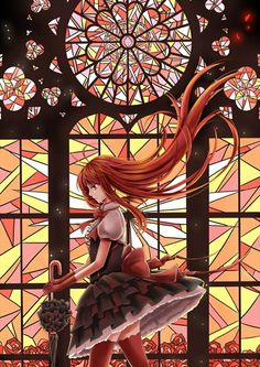 Anime picture 800x1131 with original illycia (artist) girl long hair single tall image red eyes dress flower (flowers...