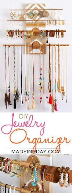 DIY Geometric Industrial Wall Jewelry Organizer.Have a lot of jewelry? I do and I made this super fun industrial trend jewelry holder you hang on your wall! Industrial trend organizer, geometeric wall art, asseccorie holder, flange pipe wall art organizer, See the tutorial on http://madeinaday.com