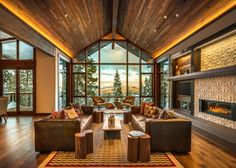 This stunning retreat in Lake Tahoe is conveniently located on a resort skyway and has ski-in/ski-out access. The home was crafted with high-end finishes and smart-home technology and also includes 180-degree views from its mountaintop location. The lot also boasts a warming hut, which is perfect for relaxing in before or after a ski run.