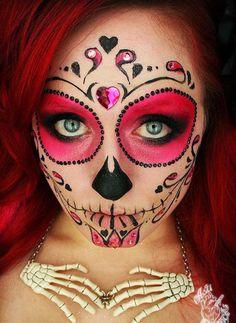 maquiagem, halloween, Caveira Mexicana