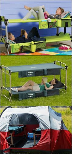 Get a great night's sleep on your camping trips with Disc-O-Bed!  http://amzn.to/1RHB7S9  This tool-free bunk bed promises comfort and a space-saving solution inside tents!  It's flexible yet stable, making it safe and secure even when set up on an uneven surface.  It even has handy built-in storage and turns into a bench for daytime comfort!  Need one?