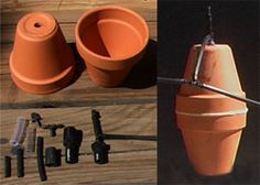 Eight inch flower pots hold about three quarts with glued together and are a little harder to seal up. Garden Irrigation System, Water Irrigation, Companion Gardening, Australian Native Flowers, Small Space Gardening, Garden Inspiration, Garden Ideas, Clay Pots, Water Garden