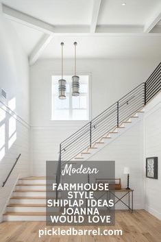 It's hard to go too wrong with shiplap, but these ideas are all home runs! So, get out to the ballpark already! #pickledbarrelblog #shiplap #modernfarmhouse Farmhouse Remodel, Farmhouse Style Kitchen, Farmhouse Interior, Modern Farmhouse Kitchens, Modern Farmhouse Decor, Farmhouse Ideas, Modern Decor, Farmhouse Stairs, Farmhouse Contemporary