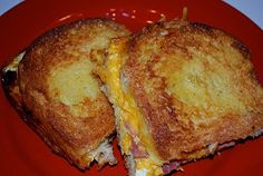 Baked Breakfast Casserole sandwich!  Make night before, put in frig. bake next morning!~ meat cheese and veggie in the middle with a French toast exterior..OMG