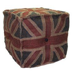 Wrightwood Furniture — Union Jack Cube Ottoman Pouf
