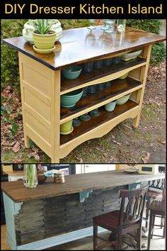 Why not turn an old dresser into a kitchen island!