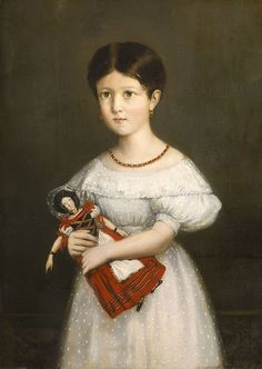 Théodore Chassériau (1819--1856) — The Child & the Doll. Portrait of Laura Stephanie Pierrugues, 1836.