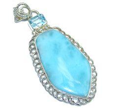 $60.95 Genuine+Blue+Larimar++Sterling+Silver+Pendant at www.SilverRushStyle.com #pendant #handmade #jewelry #silver #larimar
