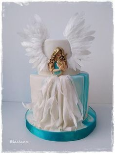 Sweet Angel by Blacksun - gateau :) - Cake Design Beautiful Birthday Cakes, Gorgeous Cakes, Pretty Cakes, Cute Cakes, Amazing Cakes, Baby Cakes, Girl Cakes, Torta Angel, Angel Cake