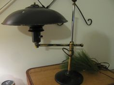Antique Industrial table Desk Lamp Brass Adjustable by VintageABCs, $185.00 Table Desk, Desk Lamp, Table Lamp, Antique Desk, Industrial Table, Shabby Chic Cottage, Decoupage, Lamps, Brass
