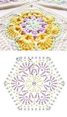 Crochet Mandala Pattern, Granny Square Crochet Pattern, Crochet Flower Patterns, Crochet Diagram, Crochet Chart, Thread Crochet, Crochet Stitches, Knitting Patterns, Crochet Pillow