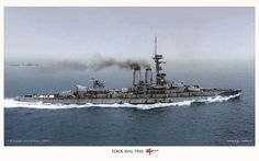 A beautiful -- and rare COLORISED* shot! of the British battleship HMS Erin, from 1916. She was a 27,500-ton dreadnought originally commissioned by the Ottoman Empire, building in a British shipyard. The battleship, originally to be named 'Reşadiye' for the Ottoman Navy, was renamed (after seizure by the Royal Navy) HMS Erin, and she joined the British Grand Fleet shortly before the British declaration of war against Germany on August 5, 1916.