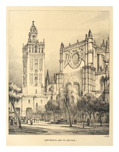 """""""Patio de la Catedral de Sevilla"""" Litografía de autor desconocido. 1837."""