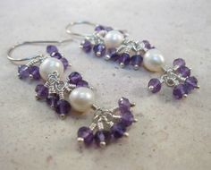 White Freshwater pearls and micro semi-precious Amethyst gemstones sterling silver drop earrings - pinned by pin4etsy.com
