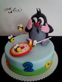 Mole and lollipop / Krteček a lízátko - Cake by PetiCakes / Peti dortíky Edible Lace, Occasion Cakes, Cakes For Boys, Cute Cakes, Cupcake Cookies, Themed Cakes, No Bake Cake, Cake Designs, Cake Toppers