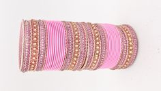 48 Baby Pink Gold Silver Diamante Indian Bangles Indian by Glimour
